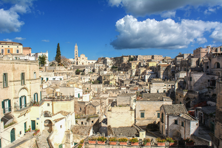 Horizontal View of the City of Matera on Blue Sky Background