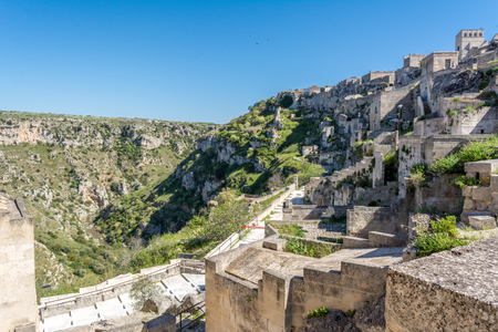 Horizontal View of the Sassi of Matera on Blue Sky Background