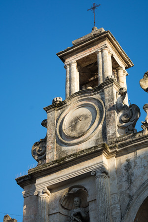 Detail of the Building of the Conservatory on Blue Sky Background. Matera, South of Italy