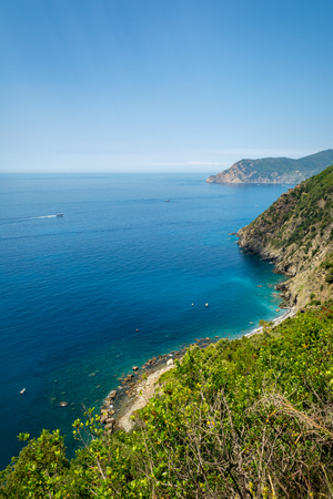 Vertical View of the Coastline on the Sea between Corniglia and Vernazza. Italy, National Park of the Cinque Terre 版權商用圖片
