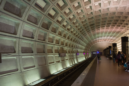 People Waiting for the Train in the Washington Underground on Blur Background