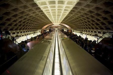 Horizontal View of The Washington Underground With Running Trains 免版税图像