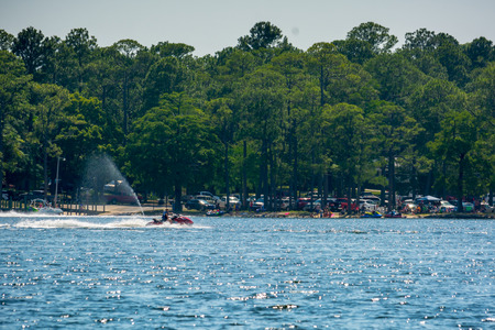 People Enjoying with Jet Boating at Sea in Florida on Blur Background Banque d'images