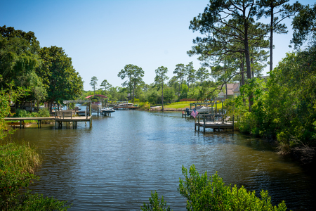 Panoramic View of a Relaxing Pond in Florida on Blur Background. Niceville, Florida