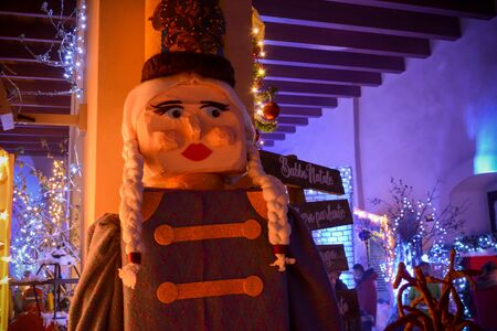 Christmas decorations in the Santa Village during Christmas Days on Blurred Background