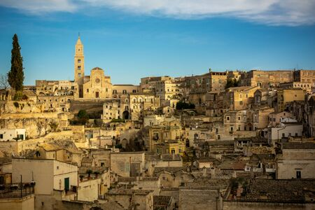 The City of Matera before Sunset guring Christmas Period on Blue Sky Background