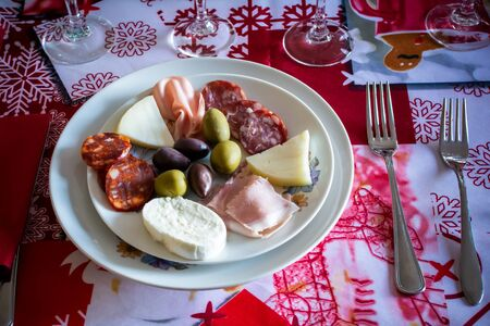 Close up of Dish with Italian Appetizer for the Christmas Lunch on Blurred Background 版權商用圖片