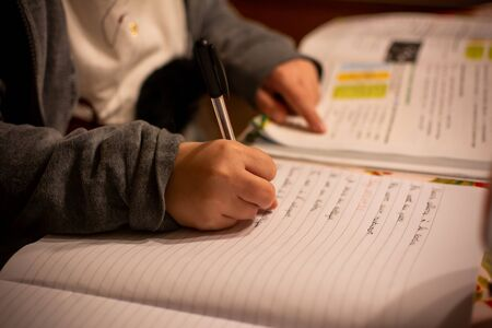 Child that makes homeworks at home in Winter on Blurred Background 版權商用圖片