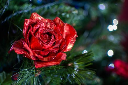 Christmas Decorations on Christmas Tree on Blurred Background in Italy