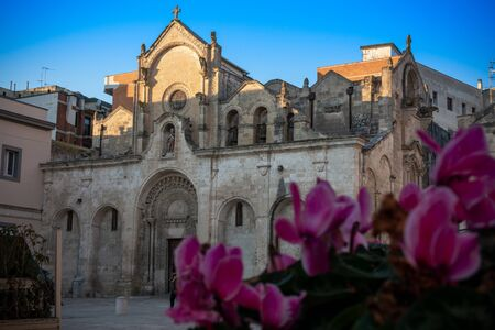 Close up of Blurred Purple Fowers in front of the Church of San Giovanni Battista in Matera on Blue Sky Background