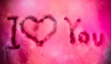 I Love You on Colored Snow Texture. St Valentines Day Background. Love Atmosphere in Abstract Background 版權商用圖片