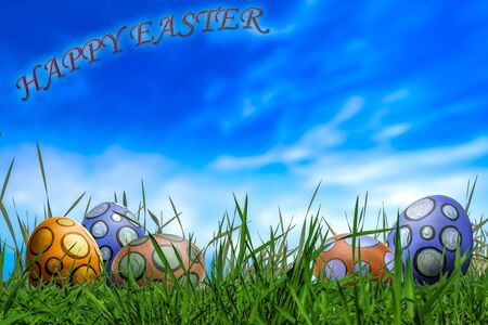 Easter Eggs in Sunny Meadow on Blue Sky  Background . Funny Softly Colored Eggs. Easter in Spring. Copy Space 版權商用圖片