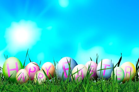 Photoshop Easter Eggs in Sunny Meadow on Blue Sky  Background. Funny Softly Colored Eggs with Happy Easter Letters. Copy Space. Easter in Spring