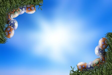Eggs and Grass Corners on Blue Sky Background - Copy space - concept of Easter in Spring