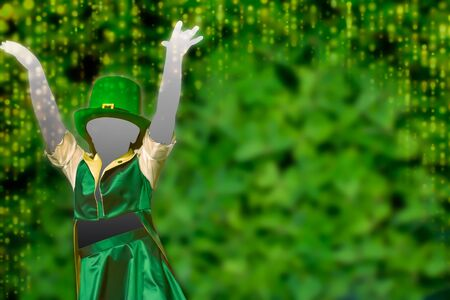 Silhouette of a girl that dress a green cap that dances  on Green Background fot saint patrick day. copy space. colored green background