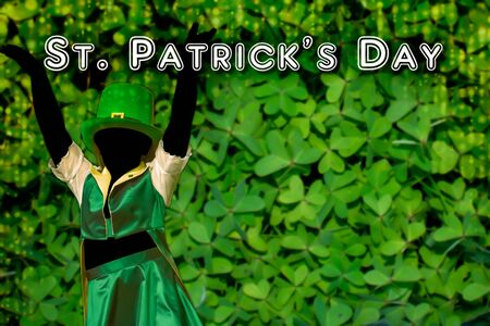 Silhouette of a girl that dress a green cap that dances  on Green Background with golden cascade fot saint patrick day. copy space. colored green background