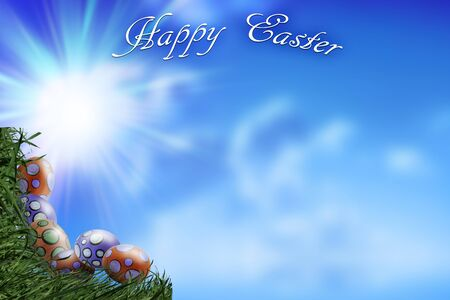 Eggs and Grass Corners on Blue Sky Background with the Sentence Happy Easter - Copy space - concept of Easter in Spring