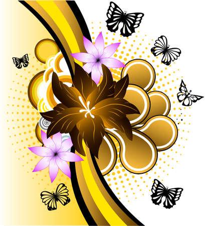 Mariposa y flores bandera Ilustración de vector