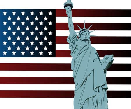 Amerikaanse vlag en het standbeeld van de vrijheid Stock Illustratie