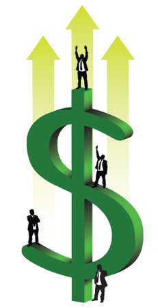 retirement savings: Businessmen dollar Illustration