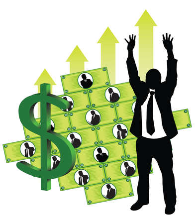 Businessmen making money Illustration