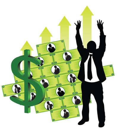 back view man: Businessmen making money Illustration