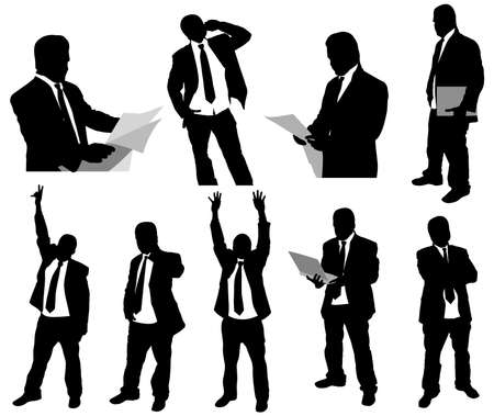 back lit: Businessmen silhouettes
