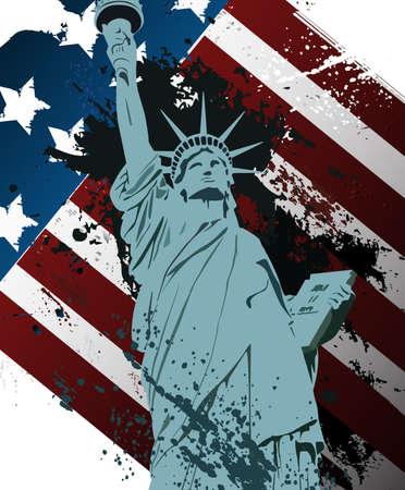 동상: 자유의 그런 동상 일러스트