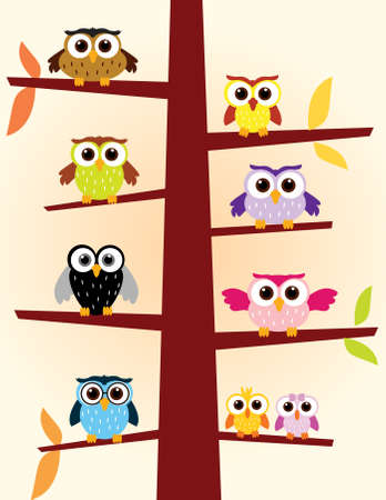 Owls in a tree Illustration