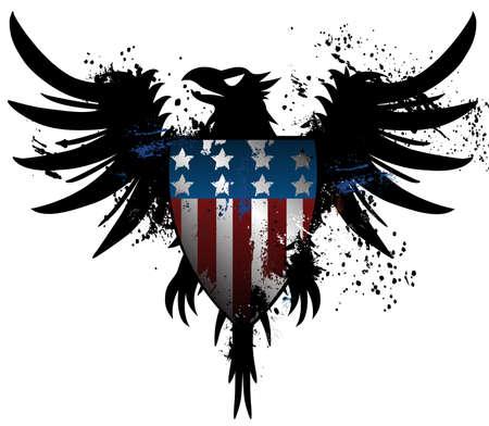 American grunge eagle  イラスト・ベクター素材