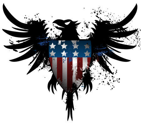 eagle badge: American grunge eagle Illustration