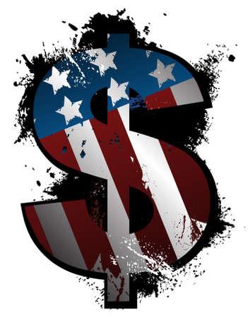Symbool van de Dollar van Grunge Stock Illustratie