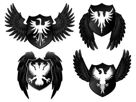 Eagles Black Shields Vector