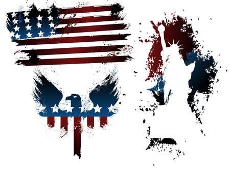 Grunge Amerikaanse Set Stock Illustratie
