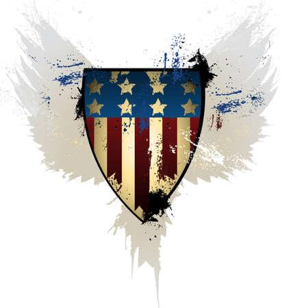 Grunge American Shield Ilustrace