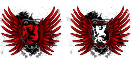 Lion grunge shield