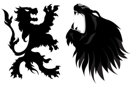 Lions Heraldy Illustration