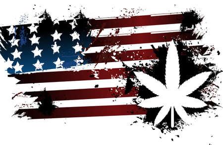 Marijuana American Flag Vector