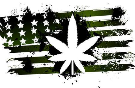 hoja marihuana: La marihuana de la bandera americana Vectores