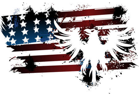 American flag and eagle grunge Illustration