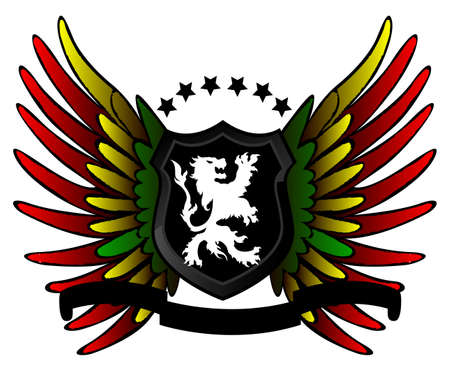 Rastafarian lion shield