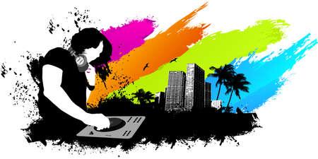 party dj: Party DJ fond de ville Illustration