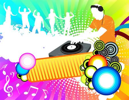 party dj: Couleur parti de mixage DJ et des gens qui dansent Illustration