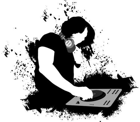 DJ mixing black and white