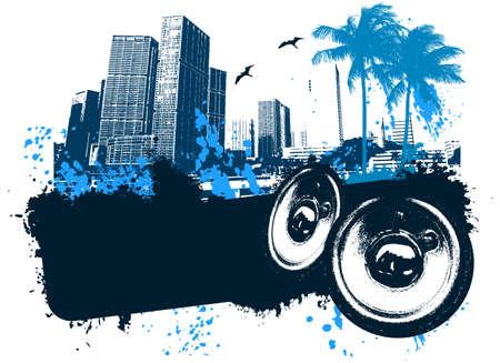 caribbean party: Grunge azul m�sica de la playa