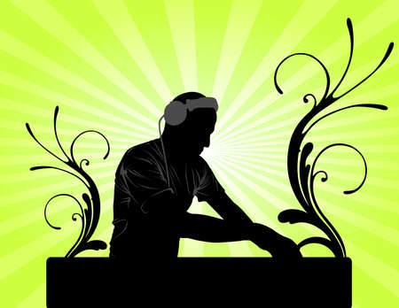 DJ mixing green background