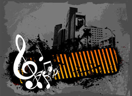 Grunge City Night Music  Vector
