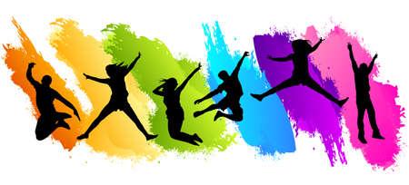 La gente que salta en el fondo de color