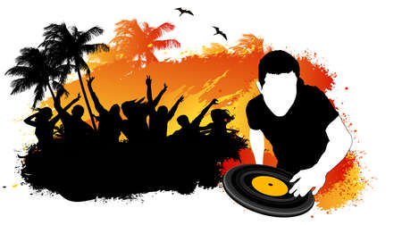 DJ mixing summer party beach Vector