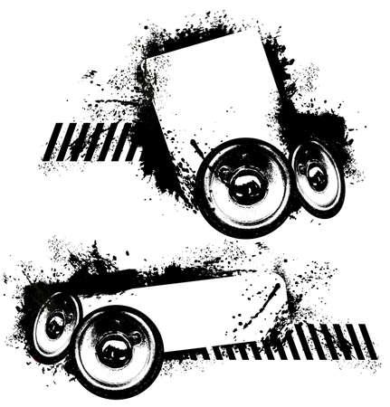 speaker: Spatter speakers music banner Illustration
